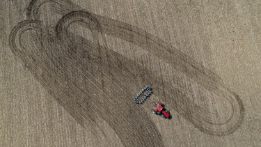 A farmer pulls a planter through a soybean field in this aerial photograph taken over a farm near Buda, Illinois, U.S., on Tuesday, July 2, 2019.