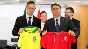 air Bolsonaro brazil elnök (j2) és Szijjártó Péter külgazdasági és külügyminiszter (b)