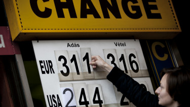 An employee adjusts the euro exchange rate against the forint on a board at a currency exchange in central Budapest. Photographer: Balazs Mohai/Bloomberg via Getty Images