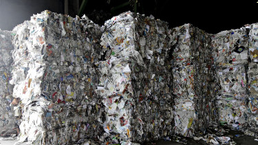 Bales of waste paper