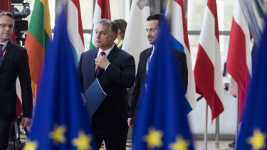 BRUSSELS, BELGIUM - JUNE 28 ,2018: Hungarian Prime Minister Viktor Mihaly Orban (C) arrives for an EU Summit at European Council on June 28, 2018 in Brussels, Belgium. (Photo by Thierry Monasse/Getty Images)