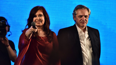 Candidate to vice president and former president Cristina Fernandez and newly elected President of Argentina Alberto Fernandez