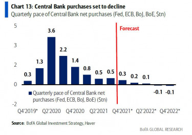 central bank purchases declining 2021