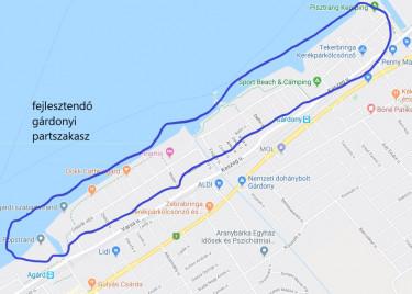 Gárdony - fejlesztendő partszakasz - térkép