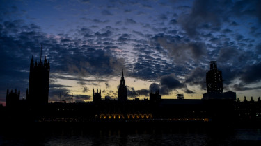 General view of the houses of Parliament as the sun goes sets, London, on September 11, 2019.