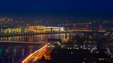 getty, éjszaka, budapest, panoráma, duna, iroda, város, fények