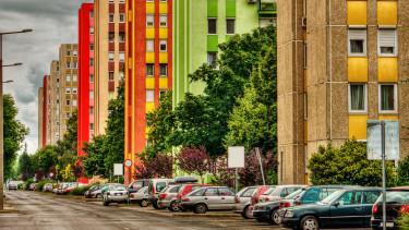 getty, panel, lakótelep, autó, parkoló