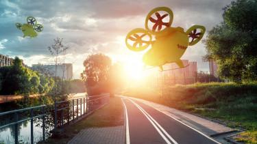 getty, repülő taxi, város, futurecity,