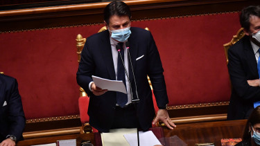 Giuseppe Conte olasz miniszterelnök felszólal a római parlament alsóházában