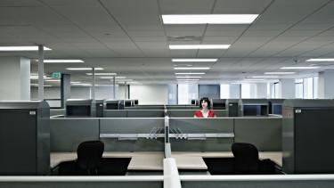 iroda, üres, magányos, irodaház, irodatér