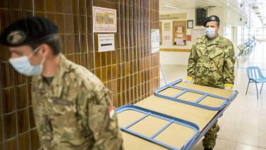 koronavírus járvány kórház katonák