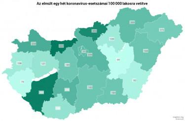 koronavirus terkep megyei