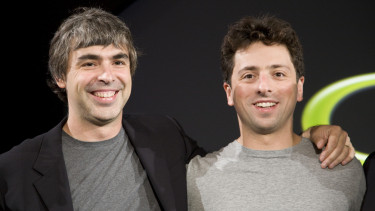 Larry Page (L) and Sergey Brin (R), the co-founders of Google