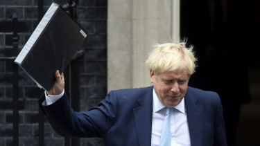 LONDON, ENGLAND - OCTOBER 03: British Prime Minister Boris Johnson leaves 10 Downing Street on October 3, 2019 in London, England.