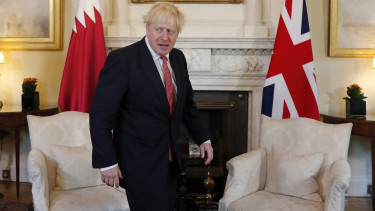 LONDON, ENGLAND - SEPTEMBER 20: Britain's Prime Minister Boris Johnson arrives to welcome the Emir of Qatar, Sheikh Tamim bin Hamad Al Thani for bilateral talks at 10 Downing Street.