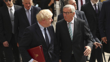 LUXEMBOURG, LUXEMBOURG - SEPTEMBER 16: European Commission President Jean-Claude Juncker (R) poses with British Prime Minister Boris Johnson prior to a meeting at a restaurant on September 16, 2019 in Luxembourg.