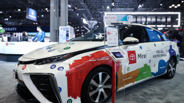 NEW YORK, USA - APRIL 18: A Toyota Mirai model car is on display during the New York International Auto Show on April 18, 2019 in New York, United States. (Photo by Atilgan Ozdil/Anadolu Agency/Getty Images)