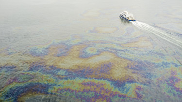 Oil spills below Rio-Niteroi bridge in Guanabara Bay