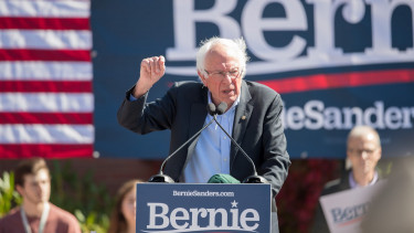 PLYMOUTH, NH - SEPTEMBER 29:  Democratic presidential candidate, Sen. Bernie Sanders (I-VT) speaks at a campaign event at Plymouth State University on September 29, 2019 in Plymouth, New Hampshire.