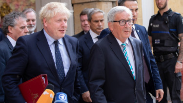 SEPTEMBER 16: British Prime Minister Boris Johnson and European Commission President Jean-Claude Juncker emerge after having a working lunch together in a restaurant in the city center on September 16, 2019 in Luxembourg, Luxembourg.