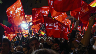 Supporters of Partido Socialista Obrero Espanol (PSOE)