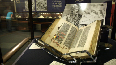 The Gutenberg Bible is photographed in the Huntington Library in Pasadena, October 30, 2010.
