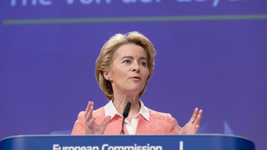 Ursula von der Leyen talks to media