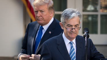 U.S. President Donald Trump looks on as his nominee for the chairman of the Federal Reserve Jerome Powell