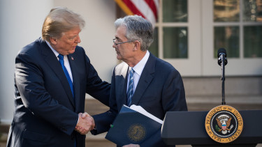 WASHINGTON, DC - NOVEMBER 02: (L to R) U.S. President Donald Trump shakes hands with his nominee for the chairman of the Federal Reserve Jerome Powell