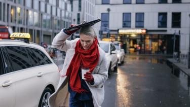 working woman rain