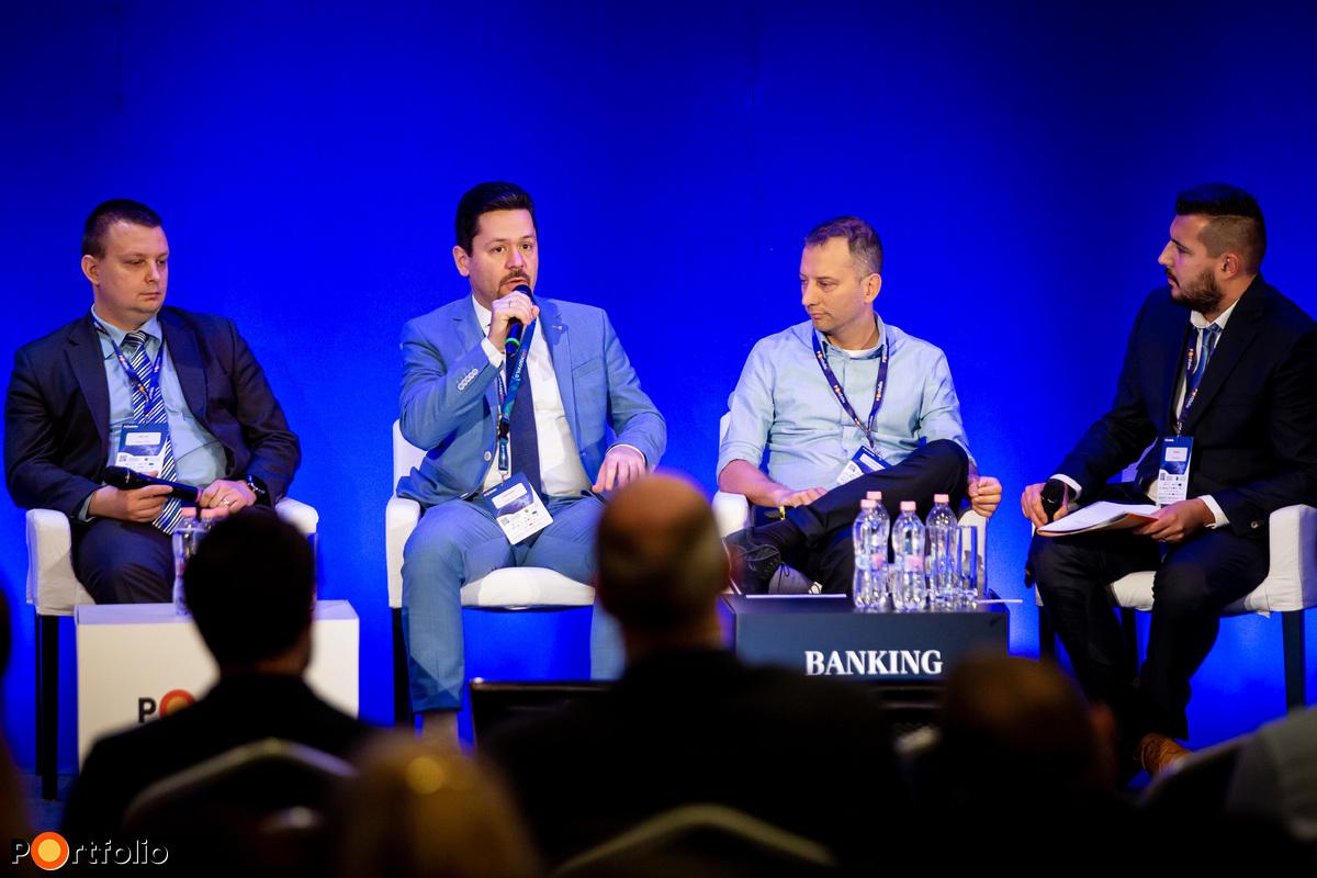 Panelbeszélgetés: Azonnali fizetés - Milyen új fizetési megoldások jönnek? A beszélgetés résztvevői balról jobbra: Zátonyi János (osztályvezető, GIRO Zrt.), Kozma Zoltán (vezérigazgató, Takarékinfo), Gáborjáni Szabó Ákos (projektvezető, digitalizációs szakértő, finste.com) és a moderátor, Turzó Ádám (elemző, Portfolio)