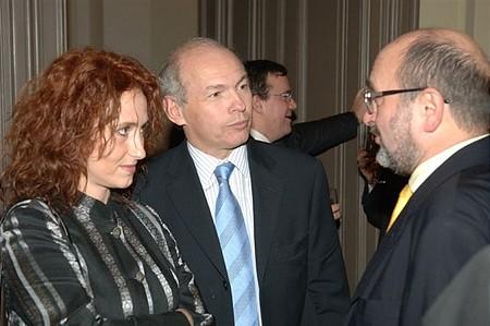 Draskovics Tibor, az MVM elnöke, volt pénzügyminiszter Bojár Gáborral, a Graphisoft elnökével beszélget