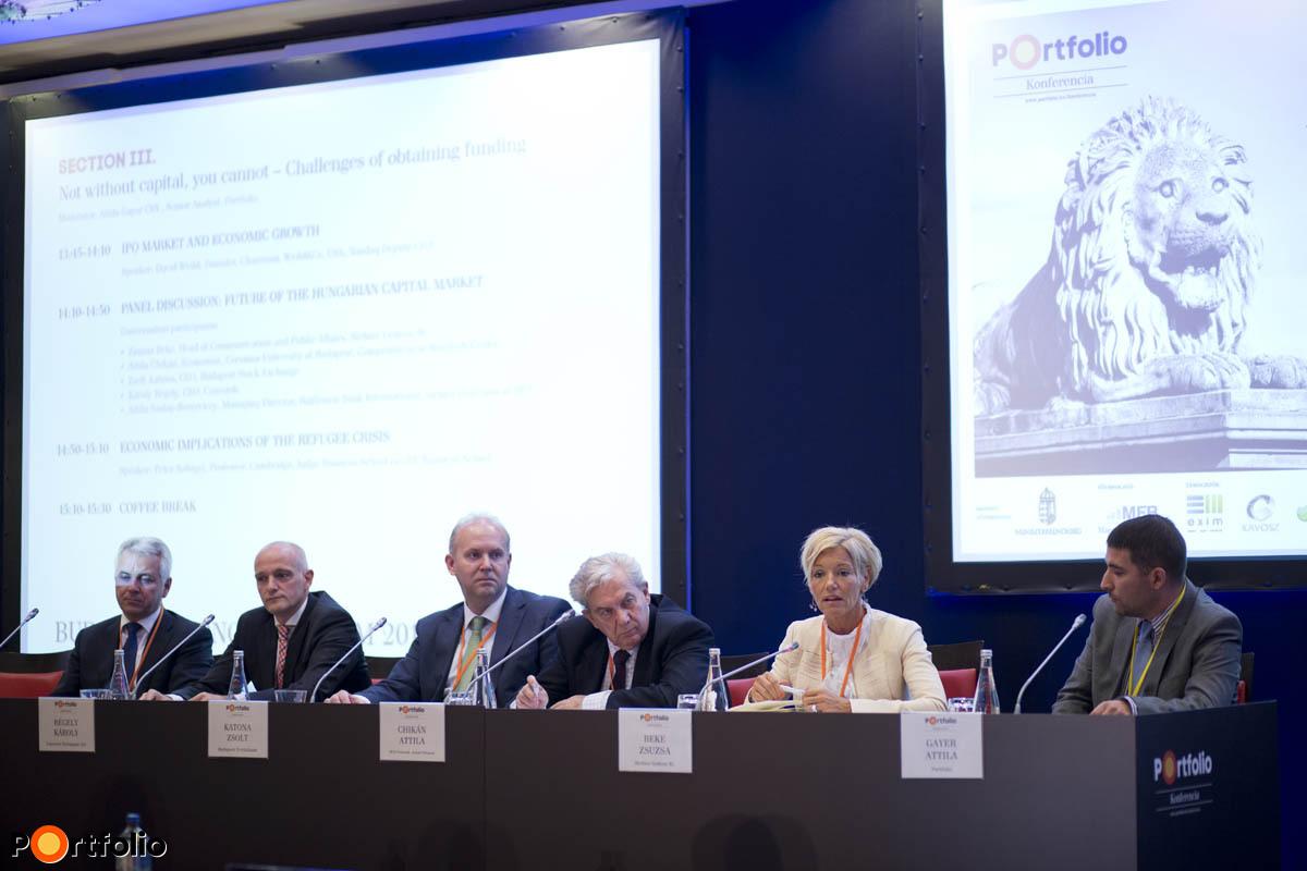 Szalay-Berzeviczy Attila, Régely Károly, Katona Zsolt, Chikán Attila, Beke Zsuzsa és Gayer Attila a tőkepiaci panelben.