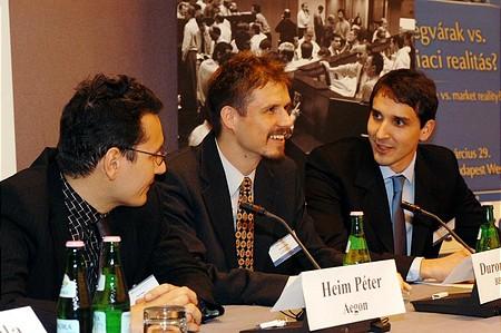 Portfolio.hu Forint Konferencia: Heim Péter (Aegon), Duronelly Péter (Budapest Alapkezelő), Barcza György (ING)